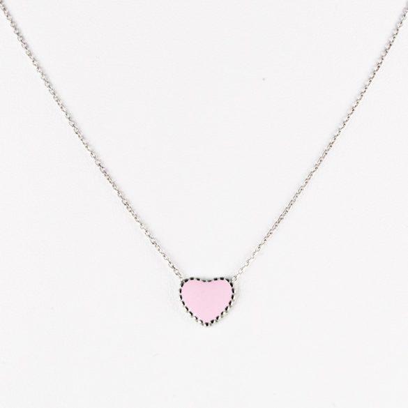 Ezüst Nyaklánc Rózsaszín Szív Medállal—kicsi