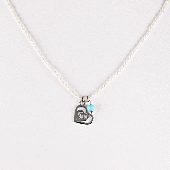 Ezüst gyöngy nyaklánc szív medállal