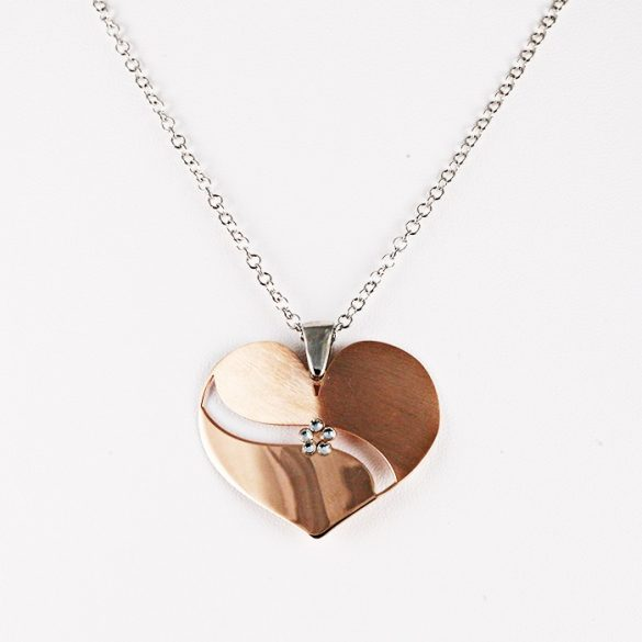 Ezüst Nyaklánc Rosé Szív Medállal és Kővel