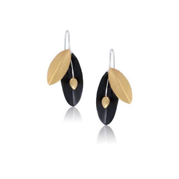 Ezüst Paros Fülbevaló— fekete oliva