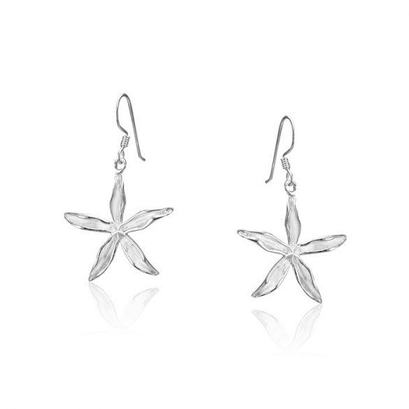 Ezüst Paros Fülbevaló— kicsi fehér virág