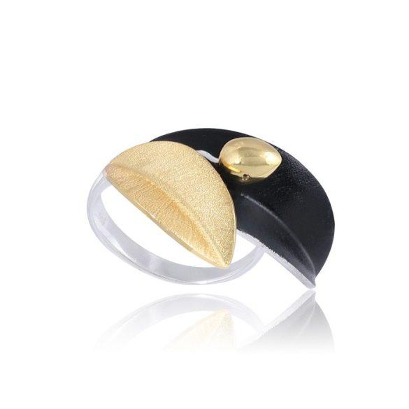 Ezüst Paros Gyűrű Fekete Olajággal