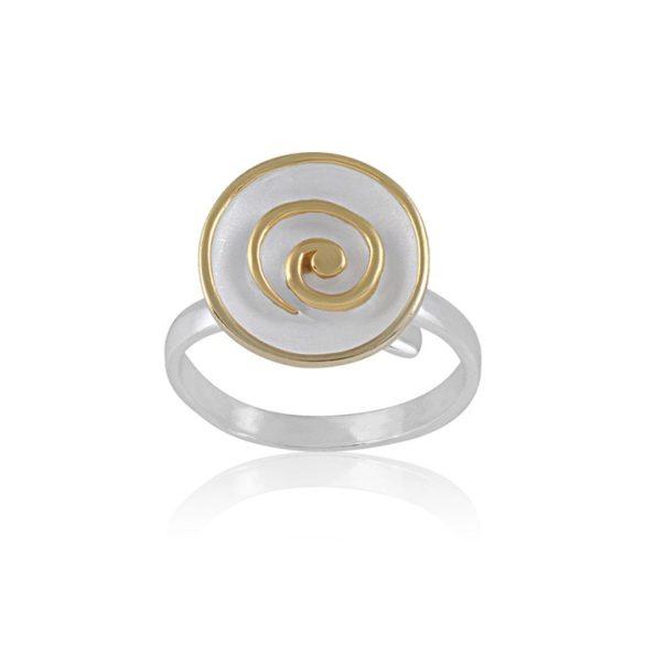 Ezüst Paros Gyűrű- fehér csigavonal