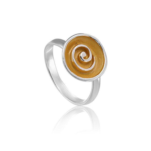 Ezüst Paros Gyűrű- arany csigavonal