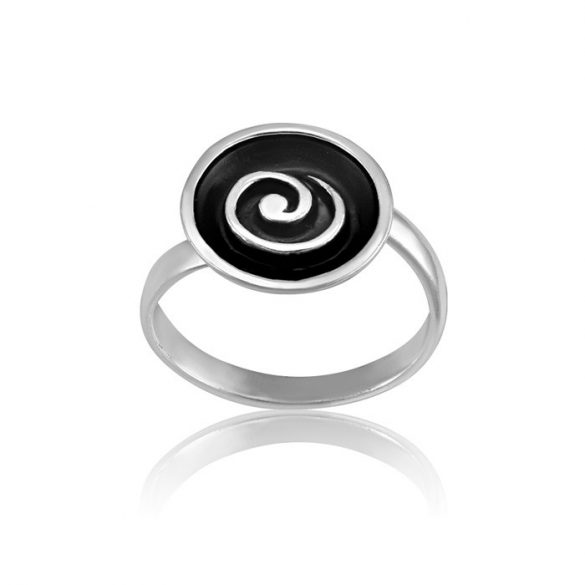 Ezüst Paros Gyűrű- fekete csigavonal