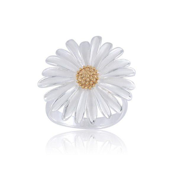 Ezüst Paros Gyűrű – aranyból és ezüstből készült margaréta virág
