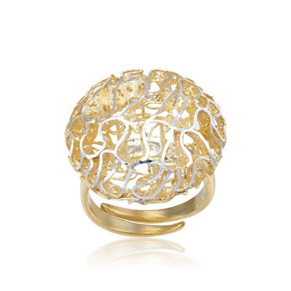 Ezüst Periklis Gyűrű – áttört korall forma arany színben