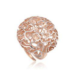 Ezüst Periklis Gyűrű – áttört korall forma rozé színben