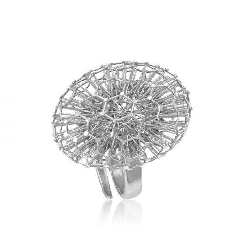 Ezüst Periklis Gyűrű – áttört ovális hókristály