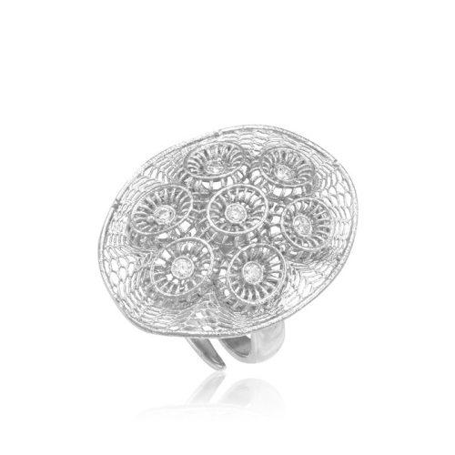 Ezüst Periklis Gyűrű – áttört csipkés ovál forma kövekkel
