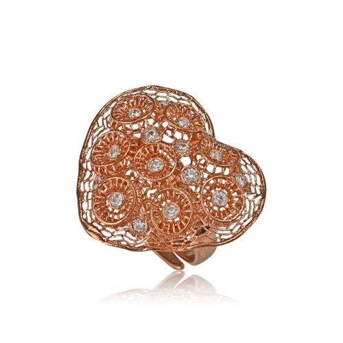 Ezüst Periklis Gyűrű – áttört csipkés szív kövekkel, rozé színben