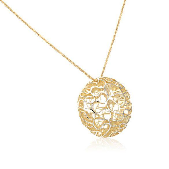Ezüst Periklis Nyaklánc Áttört Kör medállal—arany