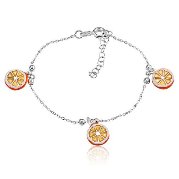 Ezüst Toscana Gyermek Karkötő— narancs
