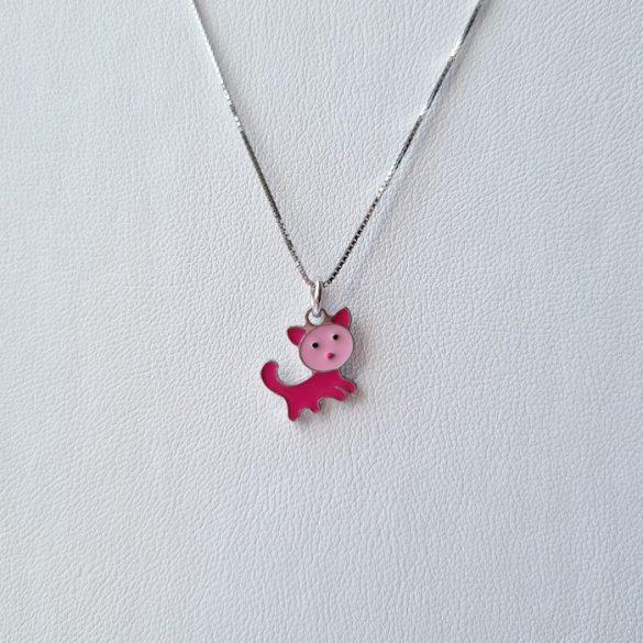 Ezüst Toscana Gyermek nyaklánc cica medállal