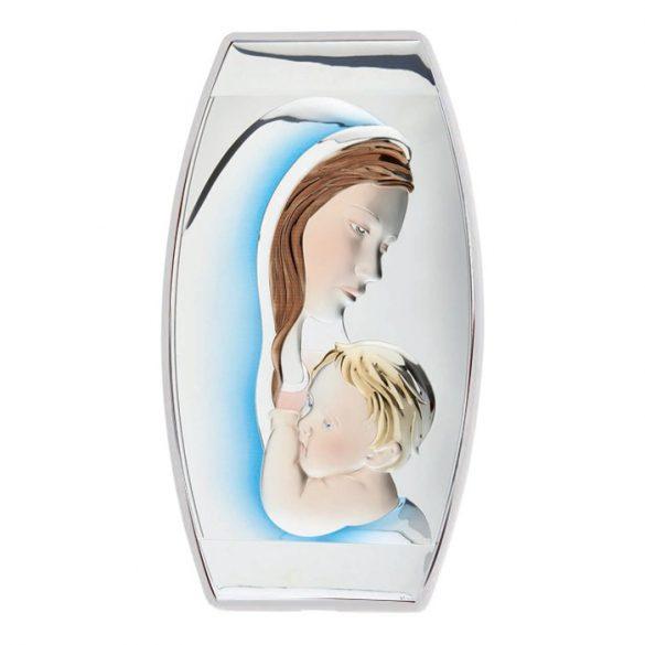 Színes Anya és fia ikon fakeretben, kitámasztóval